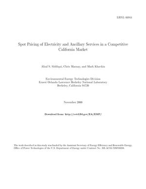 Primary view of object titled 'Spot pricing of electricity and ancillary services in a competitive California market'.