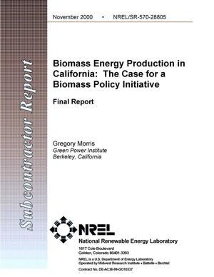 Primary view of object titled 'Biomass Energy Production in California: The Case for a Biomass Policy Initiative; Final Report'.