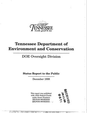 Primary view of object titled 'Tennessee Department of Environment and Conservation - DOE Oversight Division. Status Report to the Public - December 1999'.