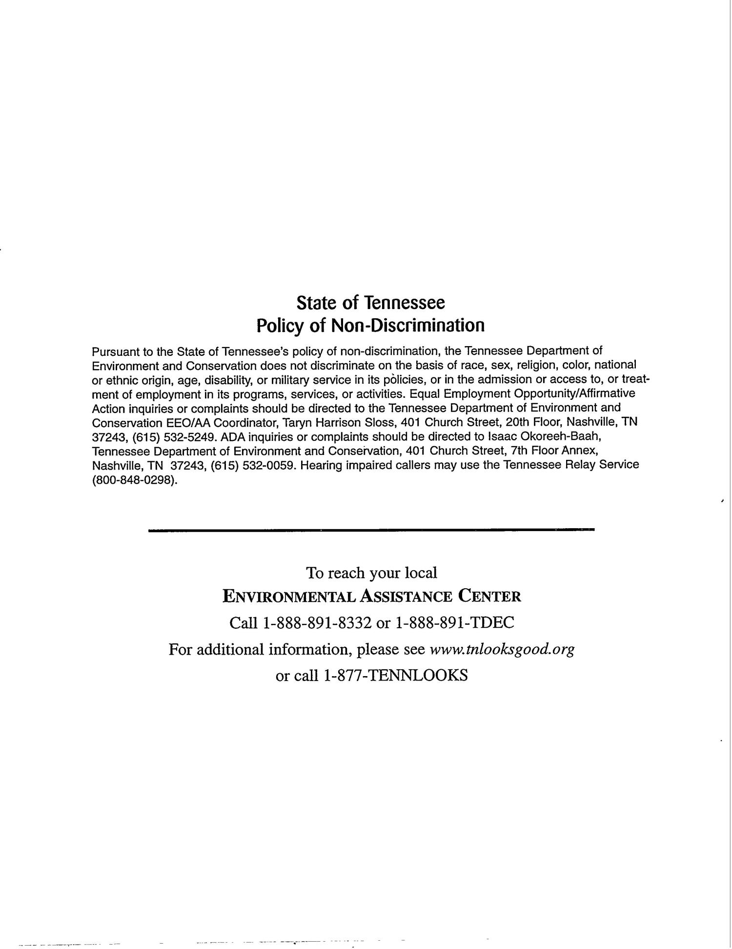 Tennessee Department of Environment and Conservation - DOE Oversight Division. Status Report to the Public - December 1999                                                                                                      [Sequence #]: 2 of 72