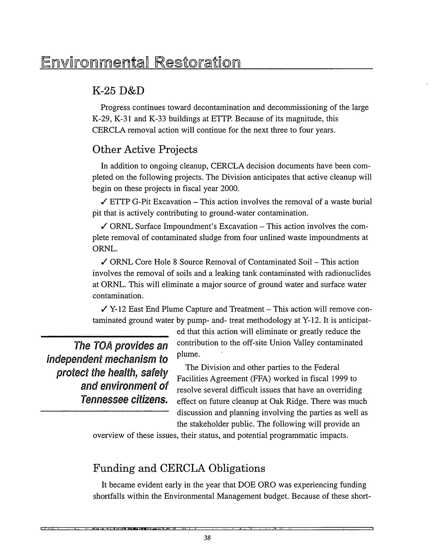Tennessee Department of Environment and Conservation - DOE Oversight Division. Status Report to the Public - December 1999                                                                                                      [Sequence #]: 42 of 72