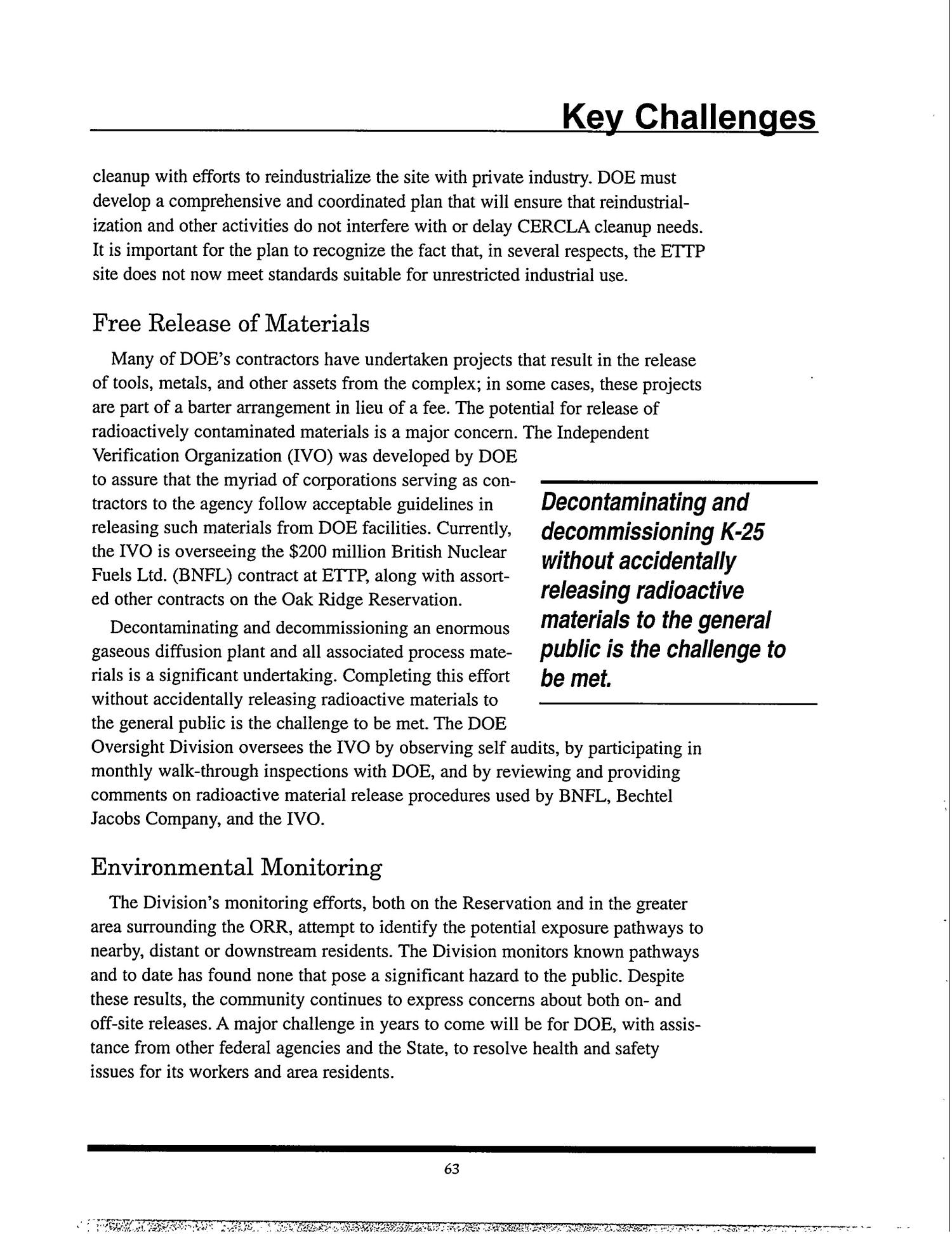 Tennessee Department of Environment and Conservation - DOE Oversight Division. Status Report to the Public - December 1999                                                                                                      [Sequence #]: 67 of 72