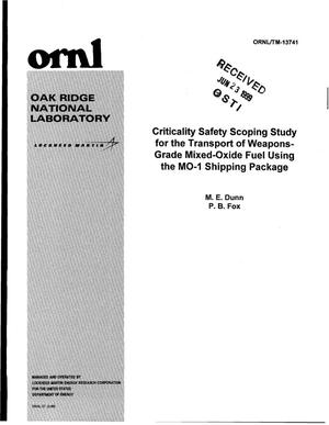 Primary view of object titled 'Criticality Safety Scoping Study for the Transport of Weapons-Grade Mixed-Oxide Fuel Using the MO-1 Shipping Package'.