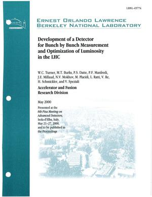 Primary view of object titled 'Development of a detector for bunch by bunch measurement and optimization of luminosity in the LHC'.