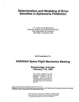 Primary view of object titled 'Determination and Modeling of Error Densities in Ephemeris Prediction'.