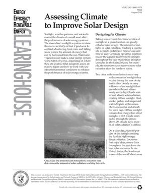 Primary view of object titled 'Assessing Climate to Improve Solar Design. Energy Efficiency and Renewable Energy Clearinghouse (EREC) Brochure'.
