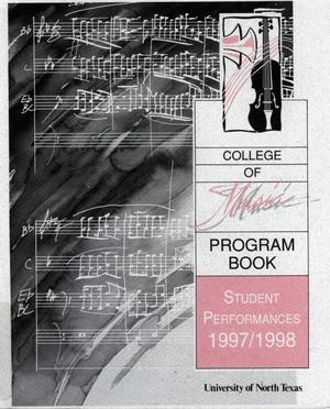 Primary view of object titled 'College of Music program book 1997-1998 Student Performances Vol. 2'.