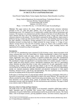 Primary view of object titled 'Opportunities to improve energy efficiency in the U.S. pulp and paper industry'.