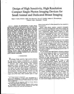 Primary view of object titled 'Design of High Sensitivity, High Resolution Compact Single Photon Imaging Devices for Small Animal and Dedicated Breast Imaging'.