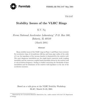 Primary view of object titled 'Beam stability issues of the VLHC rings'.