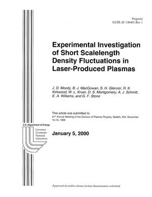 Primary view of object titled 'Experimental Investigation of Short Scalelength Density Fluctuations in Laser-Produced Plasmas'.