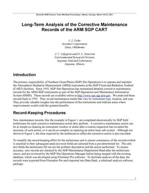 Primary view of object titled 'Long-term analysis of the corrective maintenance records of the ARM SGP CART.'.