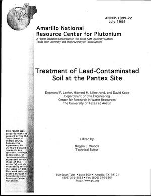 Primary view of object titled 'Treatment of Lead-Contaminated Soil at the Pantex Plant'.