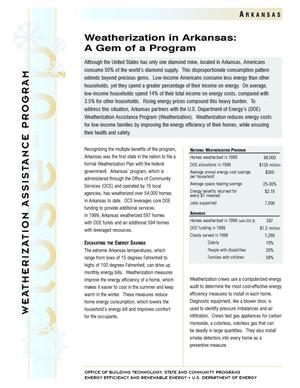 Primary view of object titled 'Weatherization in Arkansas: A Gem of a Program: Weatherization Assistance Close-Up Fact Sheet'.