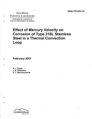 Primary view of object titled 'Effect of Mercury Velocity on Corrosion of Type 316L Stainless Steel in a Thermal Convection Loop'.