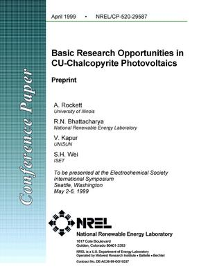 Primary view of object titled 'Basic Research Opportunities in Cu-Chalcopyrite Photovoltaics: Preprint'.
