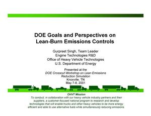 Primary view of object titled 'DOE Goals Perspectives on Lean-Burn Emissions Controls'.