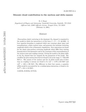 Primary view of object titled 'Mesonic cloud contribution to the nucleon and delta masses'.