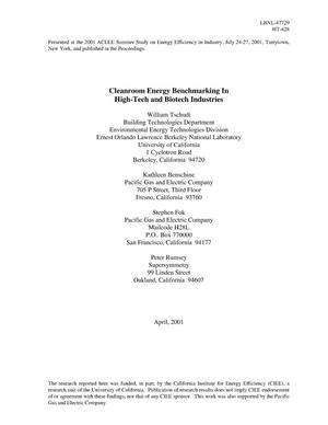 Primary view of object titled 'Cleanroom energy benchmarking in high-tech and biotech industries'.