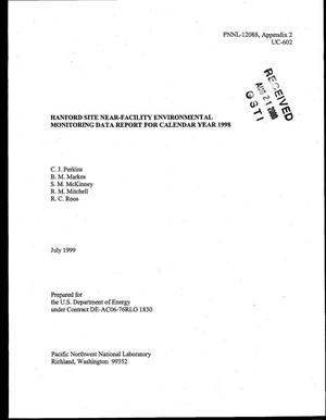 Primary view of object titled 'Hanford Site Near-Facility Environmental Monitoring Data Report for Calendar Year 1998'.