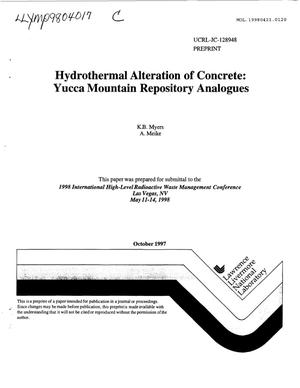 Primary view of object titled 'HYDROTHERMAL ALTERATION OF CONCRETE: YUCCA MOUNTAIN REPOSITORY ANALOGUES'.