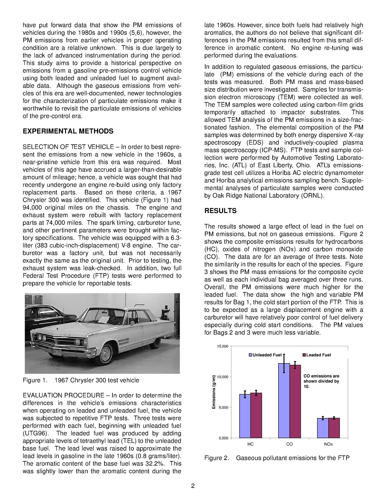Particulate Emissions from a Pre-Emissions Control Era Spark-Ignition Vehicle: A Historical Benchmark                                                                                                      [Sequence #]: 4 of 7