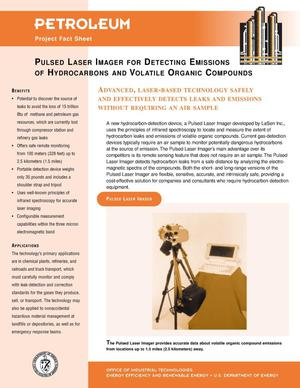 Primary view of object titled 'Pulsed Laser Imager for Detecting Emissions of Hydrocarbons and Volatile Organic Compounds: Inventions and Innovation Petroleum Project Fact Sheet'.