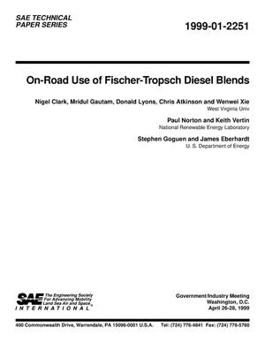 Primary view of object titled 'On-Road Use of Fischer-Tropsch Diesel Blends'.