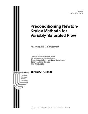 Primary view of object titled 'Preconditioning Newton-Krylor Methods for Variably Saturated Flow'.