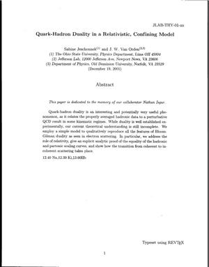 Primary view of object titled 'Quark-Hadron Duality in a Relativistic, Confining Model'.