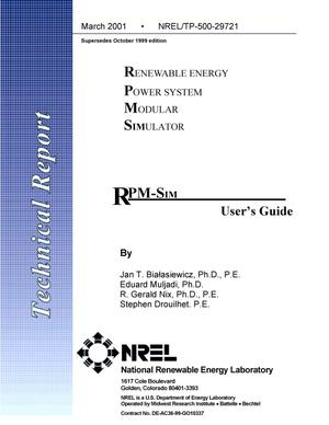 Primary view of object titled 'Renewable Energy Power System Modular SIMulators: RPM-Sim User's Guide (Supersedes October 1999 edition)'.
