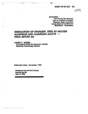Primary view of object titled 'Dissolution of Stainless Steel by Molten Aluminum and Aluminum Alloys - Final Report'.