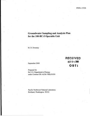 Primary view of object titled 'Groundwater Sampling and Analysis Plan for the 100-BC-5 Operable Unit'.