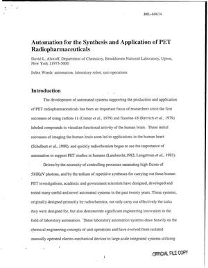 Primary view of object titled 'AUTOMATION FOR THE SYNTHESIS AND APPLICATION OF PET RADIOPHARMACEUTICALS.'.