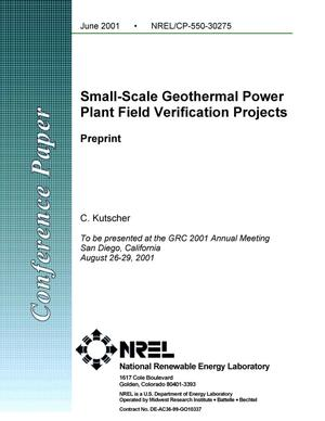 Primary view of object titled 'Small-Scale Geothermal Power Plant Field Verification Projects: Preprint'.