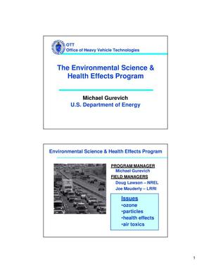 Primary view of object titled 'The Environmental Science and Health Effects Program'.
