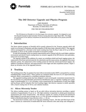 Primary view of object titled 'The D-Zero detector upgrade and physics program'.