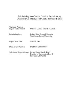 Primary view of object titled 'MINIMIZING NET CARBON DIOXIDE EMISSIONS BY OXIDATIVE CO-PYROLYSIS OF COAL/BIOMASS BLENDS'.