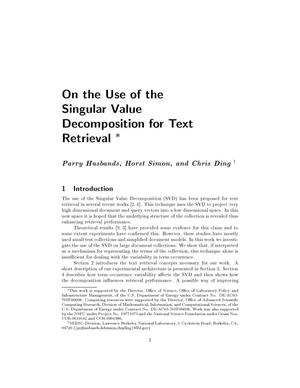 Primary view of object titled 'On the use of the singular value decomposition for text retrieval'.