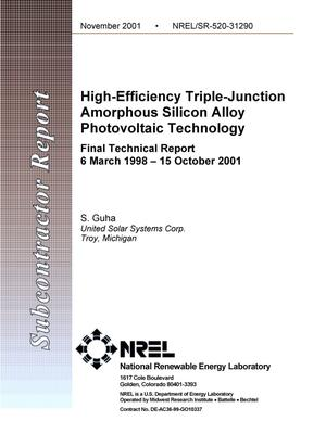 Primary view of object titled 'High Efficiency Triple-Junction Amorphous Silicon Alloy Photovoltaic Technology, Final Technical Report, 6 March 1998 - 15 October 2001'.