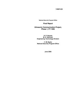 Primary view of object titled 'Ultrasonic Communication Project, Phase 1, FY1999'.