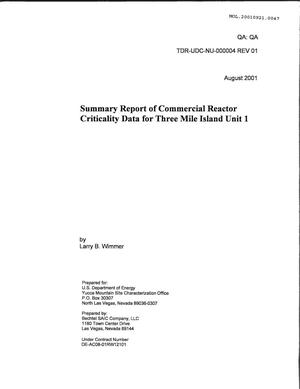 Primary view of object titled 'Summary Report of Commercial reactor Criticality Data for Three Mile Island Unit 1'.
