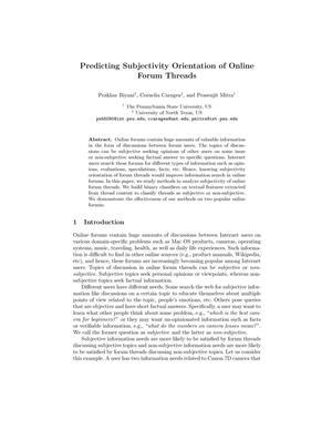 Predicting Subjectivity Orientation of Online Forum Threads