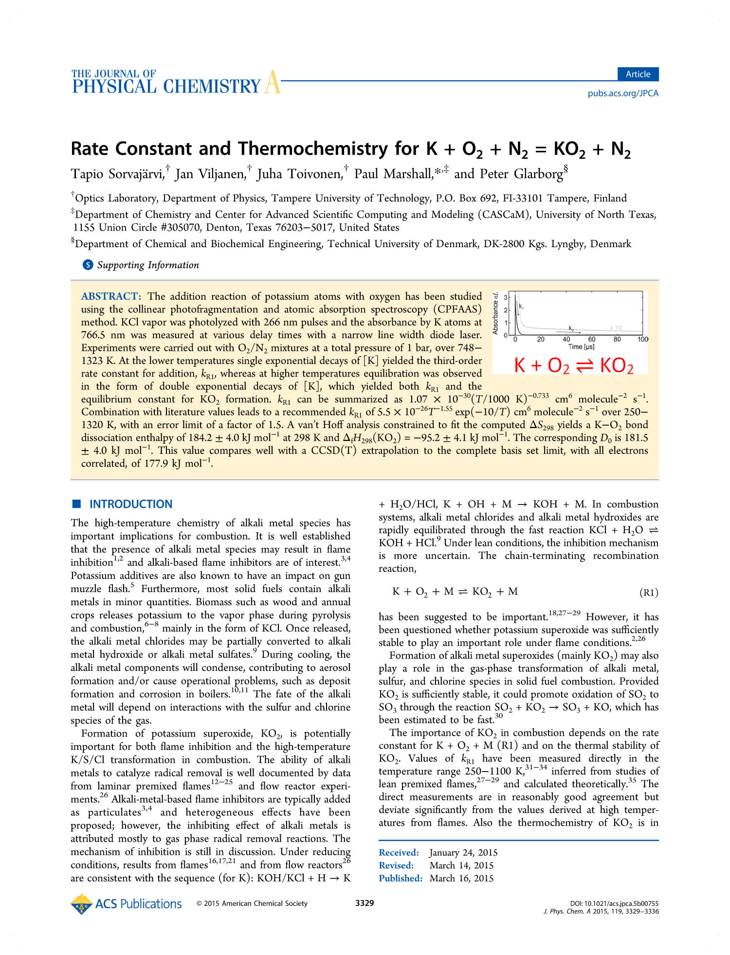 Rate Constant and Thermochemistry for K + O2 + N2 = KO2 + N2                                                                                                      3329
