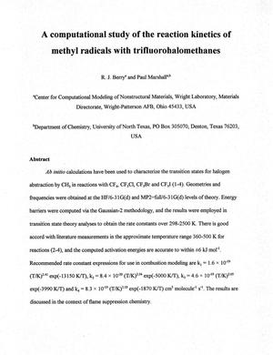 Primary view of object titled 'A computational study of the reaction kinetics of methyl radicals with trifluorohalomethanes'.