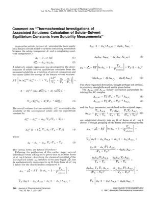 "Primary view of object titled 'Comment on ""Thermochemical Investigations of Associated Solutions: Calculation of Solute-Solvent Equilibrium Constants from Solubility Measurements""'."