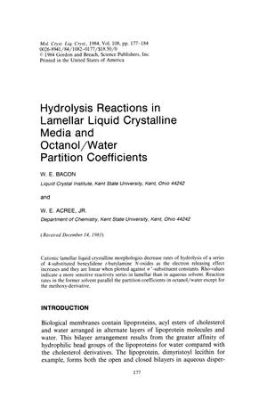 Primary view of object titled 'Hydrolysis Reactions in Lamellar Liquid Crystalline Media and Octanol/Water Partition Coefficients'.