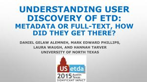 Primary view of object titled 'Understanding User Discovery of ETD: Metadata or Full-Text, How Did They Get There?'.