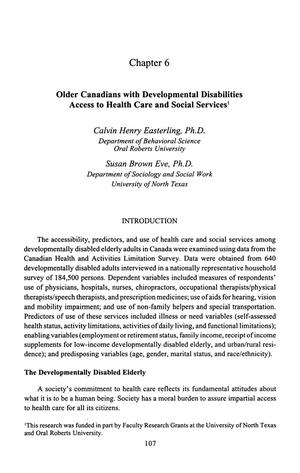 Primary view of object titled 'Older Canadian with Developmental Disabilities Access to Health Care and Social Services'.