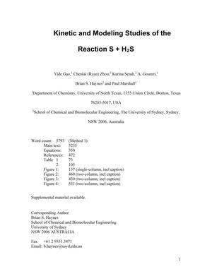 Primary view of object titled 'Kinetic and Modeling Studies of the Reaction S + H2S'.